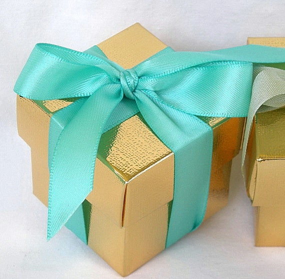 Aqua Wedding Favor Boxes : Gold favor boxes n turquoise aqua teal blue wedding