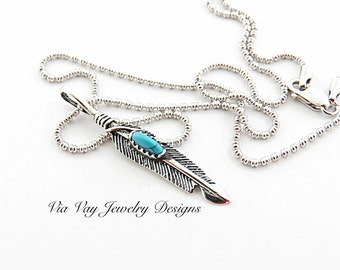 Sterling Silver Feather Necklace, TurquoiseTribal Necklace