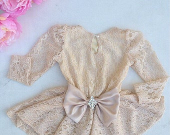 Lace Champagne Girls Peplum Top with Bow - Children - Peplum Top with Long Sleeves by Isabella Couture