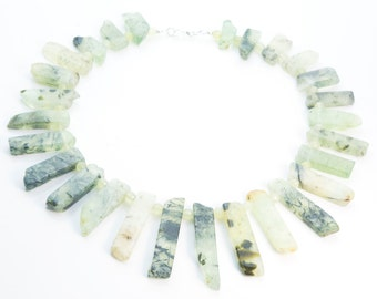 light green prehnite gemstone bib necklace - graduated fans gemstone jewelry - chunky handmade stone necklace - gemstone statement jewelry