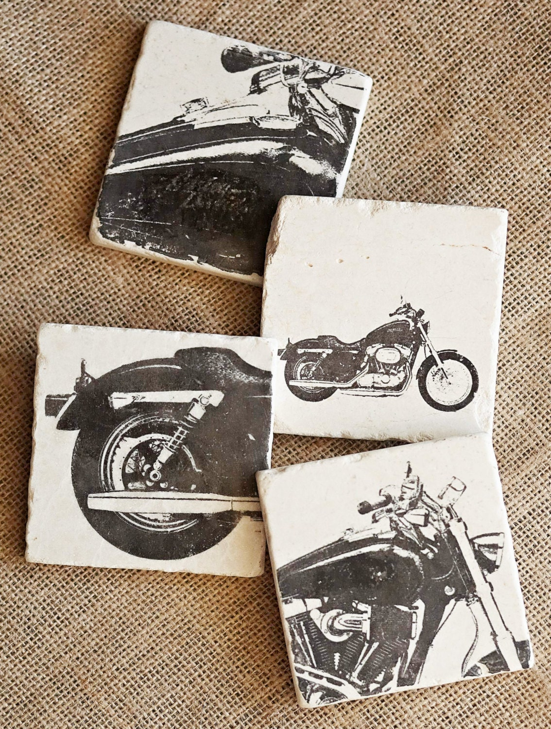 Motorcycle coasters motorcycle home decor harley decor for Motorcycle decorations home