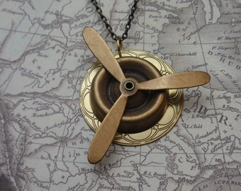 Propellor Necklace,Steampunk Necklace, Aviator's Pendant with Moving Propeller, Aviation Necklace, N48