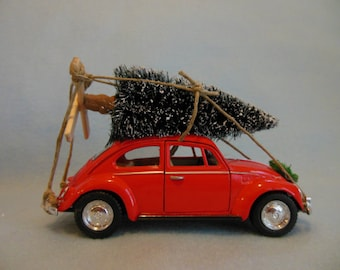 Classic Red VW Beetle Car with Christmas Tree ~ VW Bug ~ Volkswagen ~ Toy Car Christmas Ornament ~ I'll Be Home For Christmas