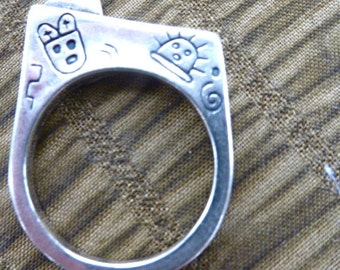Rabbit Head, Vintage Cartoonish Original Art Ring, size 8