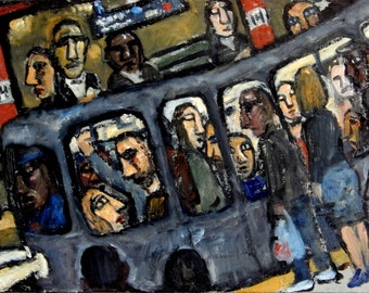 Night Train, New York Subway, Oil on Linen, Original NYC Contemporary Expressionist Oil Painting, 12x19 Signed Original Fine Art