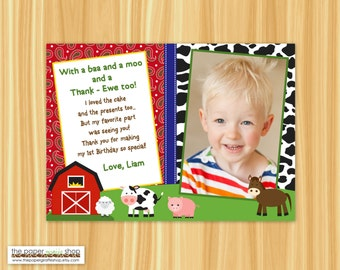 Farm Thank You Card with Photo | Farm Buddies Thank You Card | Barnyard Bash Thank You Card | Barn Thank You Card