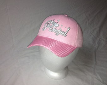 baby pink angel hat