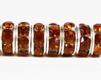 Rhinestone Rondelle Beads 8mm Light Root Beer Brown Silver Plated Metal Acrylic Rhinestone Crystal Spacer Beads 50 Loose Beads per Pack