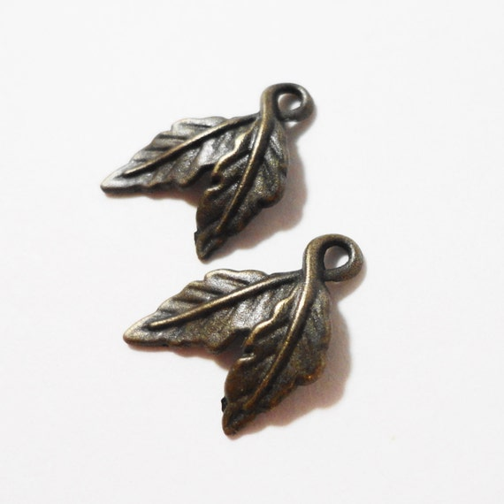 Bronze Leaf Charms 14x9mm Antique Brass Metal Nature Leaf Pendant Charm Jewelry Making Jewelry Findings Craft Supplies 10pcs