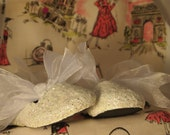 CLEARANCE SALE! White Glitter Shoes in Girls size 8; Ready to Ship; Only Twenty-Five Dollars!