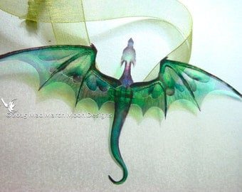 Dragon Necklace, Handmade, Emerald Green, iridescent with olive green organza tied ribbon or silver plated chain.