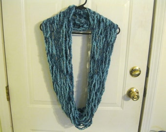 Blue on Blue Handmade Infinity Scarf Double Loop Arm Knitting Country Loom Yarn