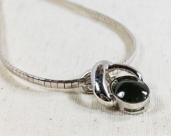 "Women's Sterling Silver 925 Dark Green Chrysoprase Gemstone Slide Pendant & 16"" Italian Omega Chain Necklace 19.3 grams - FREE SHIPPING!"