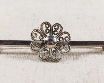 Volmer Bahner Designer Vintage Art Deco Sterling Silver Swirl Motif Single Daisy Brooch Pin - 4.5 grams