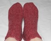 Wool Knit Socks -100% Bartlett Wool - Ankle Socks - Cranberry - Womens Size 7-8