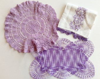 Vintage Crocheted Doilies, Linen Embroidered Guest Towel, Purple and Mauve, Set of Three