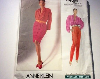 Vogue Anne Klein Pattern, Vogue American Designer Pattern, Vogue 2438, Top, Camisole, Skirt and Pants, Uncut Pattern, Size 14, 16, 18