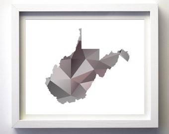 West Virginia state art print geometric wall art state print taupe brown teal aqua turquoise state art modern minimalist wall art