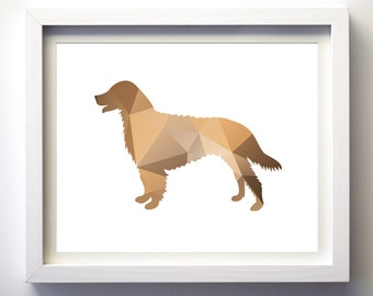Taupe brown dog silhouette art print, geometric dog wall art dog lover gift golden retriever