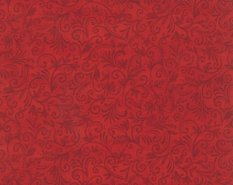 El Gallo Tonel Leaves Swirls in Red~Ebony 19692-16 by Deb Strain for Moda