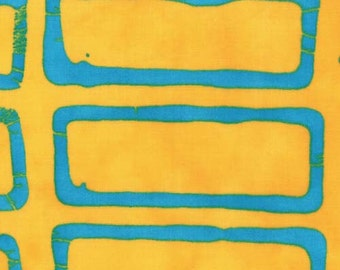 Moda - A Stitch in Color by Malka Dubrawsky Geometric 4x4 in Yellow Turquoise 23202-12 by the Yard