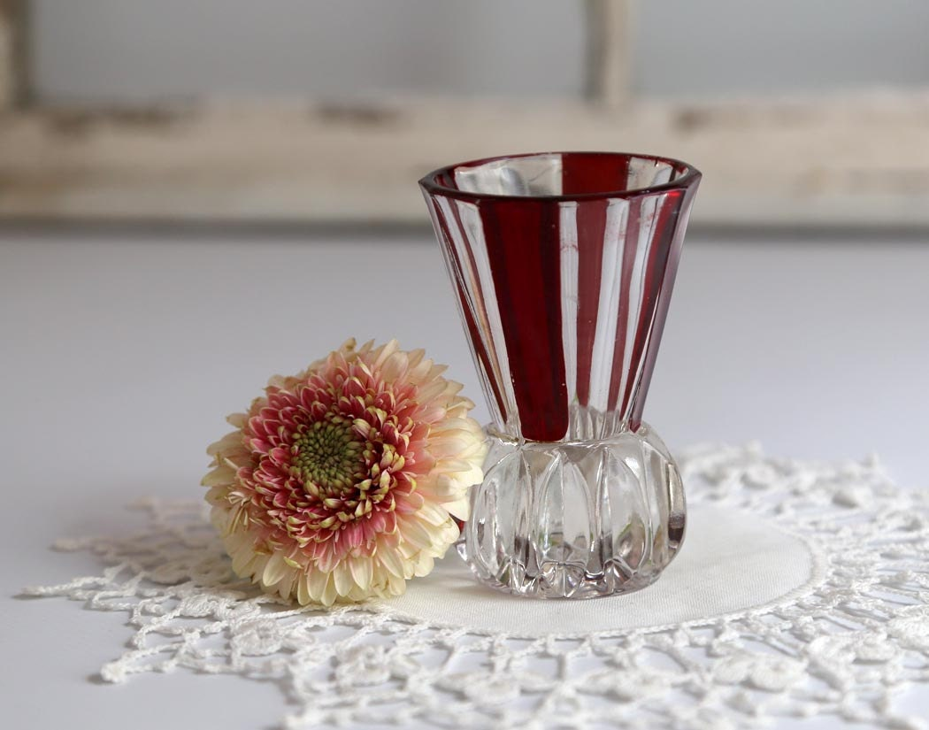 vintage small cranberry and clear glass vase by