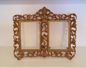 GOLD DOUBLE FRAME Tabletop Cast Iron Ornate Baroque Wedding