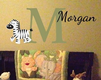 Monogram Personalized Name and Initial Cute Zebra Vinyl Decal Boys Room