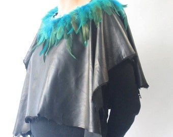 black beautifull leather poncho with feathers