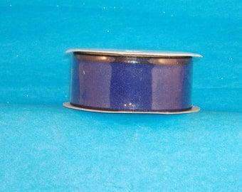 Wire Edge Navy Blue Fabric Ribbon - Navy Blue with Black Edge - 3 yd Spool - Destash