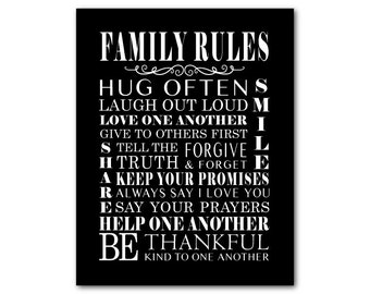 Family Rules - Family Wall Art - Playroom Wall Art - Room Decor - Subway Art - Typography word art - print -
