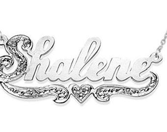 Personalized Diamond Nameplate Necklace Sterling Silver 0.10 CARAT DIAMONDS Shiny
