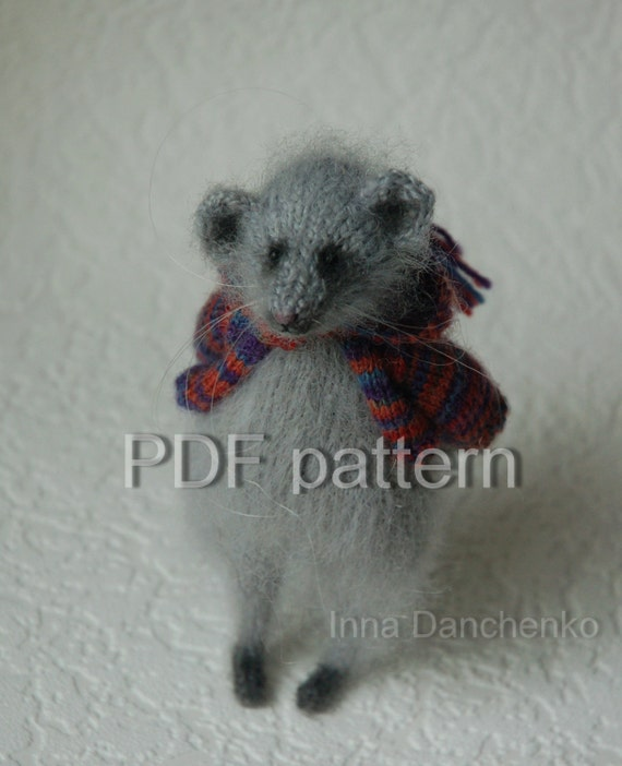 Knitting Pattern Toy Mice : Mouse Toy Knitting Pattern PDF Knitted Toys Stuffed Animal
