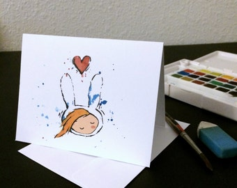 Valentine's Day Card Fionna Blank Card / Archival 4x6 inch watercolor print / nerd geek girl guy dork Adventure Time