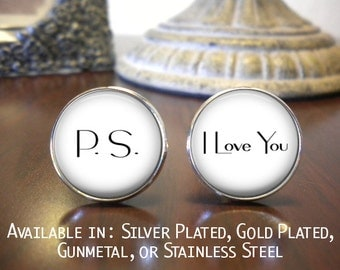Groom Cufflinks - P.S. I Love You - Personalized Cufflinks - Wedding Cufflinks - Gift for Groom - Groom Cufflinks