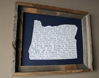 Oregon In A Nutshell Word Art Map Print (Dark Blue) - Unframed