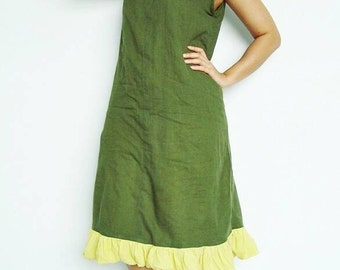 Lovely  Sexy  Beautiful green Maxi cotton Dress  (Free Shipping)