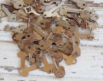 6 rusted vintage flat blank uncut keys house car door truck