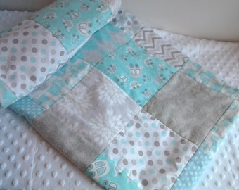 Aqua and Gray Car Baby Quilt, Turquoise Car and Truck Nursery Quilt, Turquouse and Gray Crib Quilt, Vehicle Nursery Bedding
