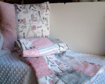 Paris Baby Quilt and Pillow, Pink and Gray Crib Quilt, Paris Nursery Quilt and Matching Pillow, Pink and Gray Glittery Nursery Bedding
