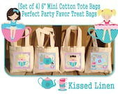 """Little Girl Tea Party Birthday Treat Favor Gift Bags Mini 6"""" Natural Cotton Totes Children Kids Guests Tea Party Favor Gift Bags - Set of 4"""