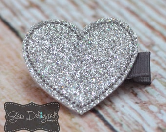 Embroidered Glitter Heart Hair Clip-Silver