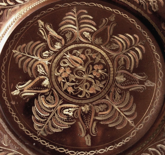 Vintage Etched Copper Wall Hanging Plate 1970s Turkish