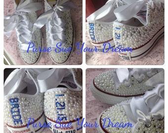 Bridal Custom Shoes - Swarovski Crystal Wedding Shoes - Pearl and Rhinestone Converse - Bride Shoes