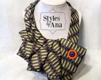 Color Block - Unique Repurposed Necktie Art Accessory Necklace/Trendy Collar, Button Art, Fabric Statement Neckalce 100% Silk Necktie