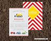 Custom Tractor and Truck Construction themed Birthday Invite Printable
