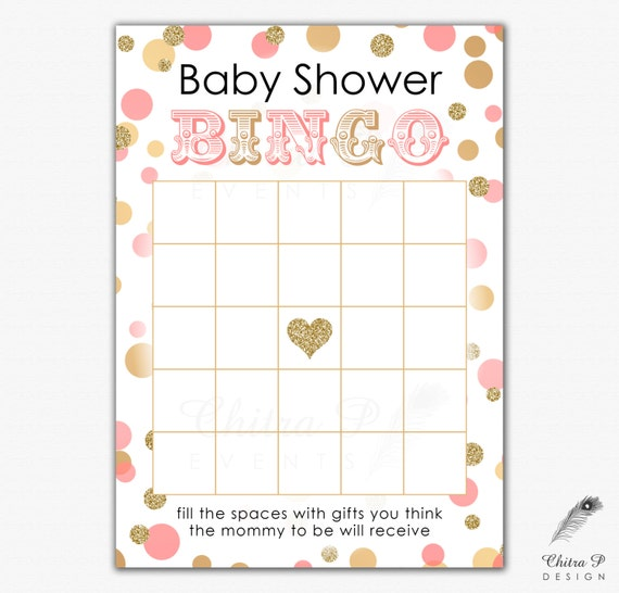 Pink & Gold Baby Shower Bingo Card - Printed or Printable, Instant ...