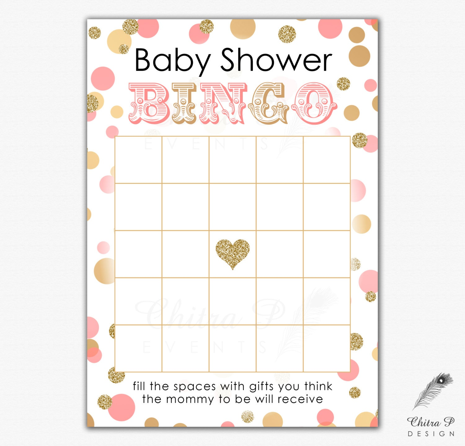 pink gold baby shower bingo card printed or printable