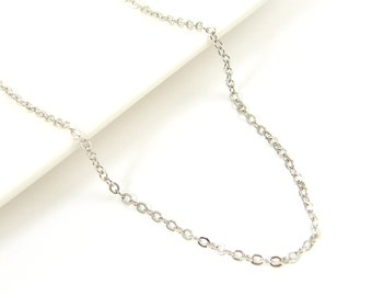 Rhodium Necklace Chain 18 to 20 Inch with Extender Medium Link Antique Silver Plated Oval Chain |CH3-2|1