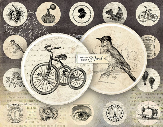 ephemera - circles image - digital collage sheet - 1 x 1 inch - Printable Download